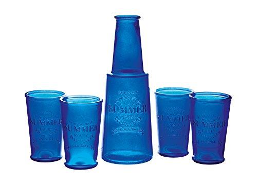 e Summer Zoll Karaffe und Gläser im Vintage Stil, Blau 9.3 x 9.3 x 27 cm, 5-Einheiten ()