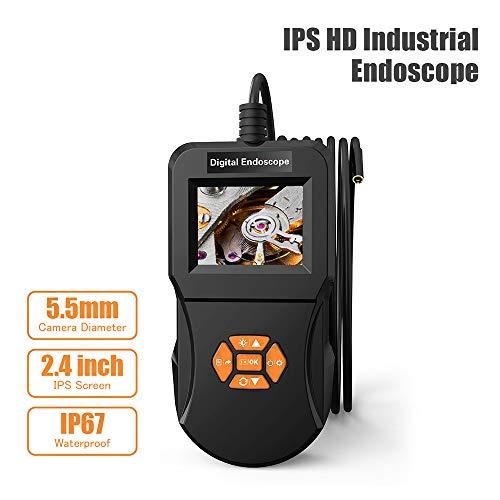 Industrielles Endoskop, digitales ABEDOE-Inspektionskamera-Endoskop, mit 5,5-mm-Mikro-Schlangenkamera, Hi-Vision-720P-IPS-Bildschirm, IP67, wasserdicht, 6 einstellbare LED-Leuchten, Endoskop