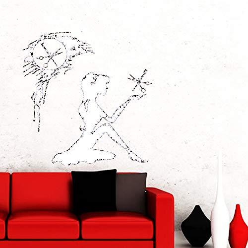 Zaosan Friseursalon Make-up Schere Kamm Vinyl Wandtattoo Fenster Home Fashion Art Deco hochwertige Salon Wand Poster weiß 57x57cm