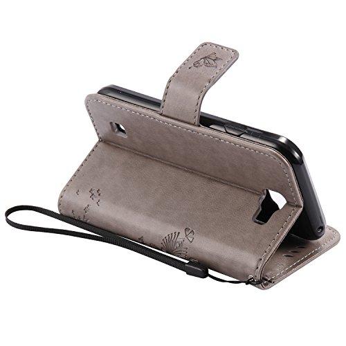 ANNN® LG X POWER Coque PU Cuir Flip Housse Étui Cover Case(Arbre butterfly)Portefeuille Supporter avec Fonction Stand et Fentes de Carte de Crédit + Quill stylet + Pendentif poisson---A05 A04