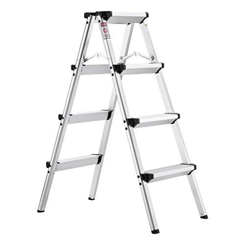 Finether Trittleiter Aluminium Klapptritt mit 2 x 4 Stufen Leicht 2.8 kg Rostfrei Leiter begehbar 150 kg Traglast Haushaltsleiter beidseitig mit Anti-Rutsch-Profil