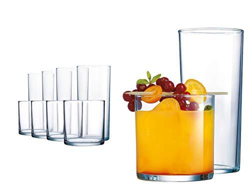 16 Stück Trinkgläser, schwerer Boden, langlebige Glasbecher - 8 Kühlgläser (16 oz) und 8 DOF Gläser (284 oz), 16-teiliges Glasgeschirr-Set Dof Gläser Set
