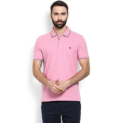 Celio Men Pink Solid Cotton Polo