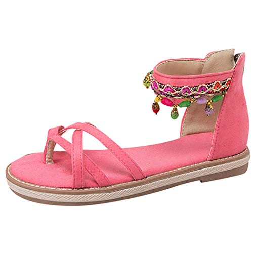Sandales Femmes Plates Tropeziennes,Yesmile Bohemia Style Lace-Up Flats Open-Toed Chaussures (38, Rose)