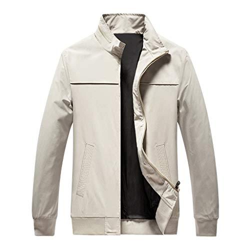 Herren Jacke, sunnymi ® Herbst Lässige Mode Reine Farbe Patchwork Jacke Reißverschluss Outwear Coat - Königin Blatt Camouflage