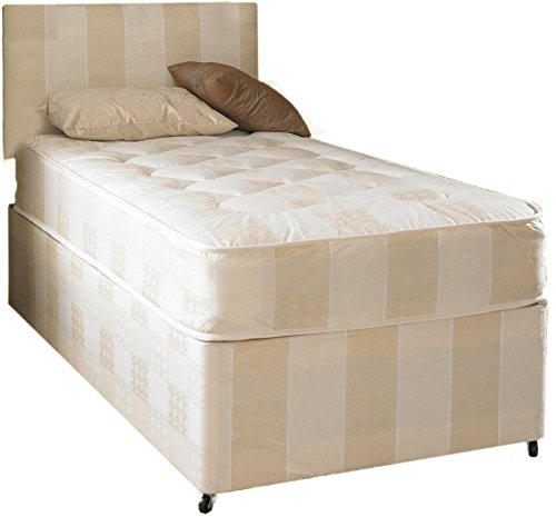 Deep quilt divan bed including deep quilt mattress and for Single divan beds with mattress and headboard