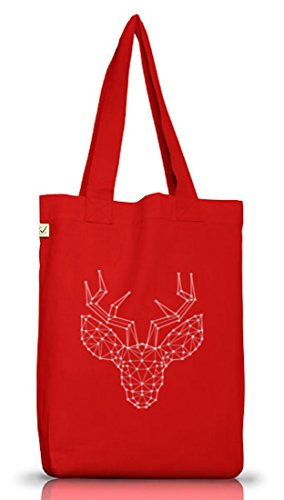 Weihnachten Jutebeutel Stoffbeutel Earth Positive mit Polygon Rentier Motiv Red
