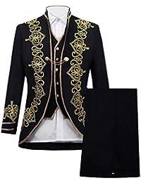 Zolimx Herren Slim Anzug Applique Leistungsanzug Frack Blazer Jacke Retro  Gothic Steampunk Uniform Abendkleid Praty Kostüm Smoking Jacke… 0ab2d01a34