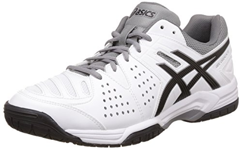 Asics Men's Gel-Dedicate 4 White, Black and Aluminum Tennis Shoes - 6 UK/India (40 EU)(7 US)  available at amazon for Rs.3849