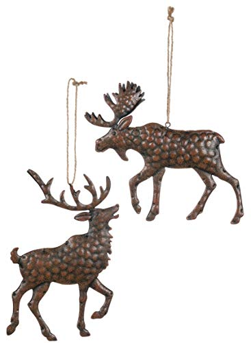 Sullivans Textured Metal Moose and Reindeer Christmas Ornaments, Set of 12 in 2 Styles, 5.5