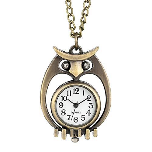 DLIUYU Taschenuhr Einzigartige Bronze aushöhlen taschenuhr Diamant Eye owl case langlebig dünne Kette anhänger Halskette quarzuhr Geschenke für männer Frauen, Bronze