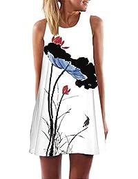 FEITONG Las mujeres de la vendimia de Boho del verano sin mangas de la playa corta impresa mini vestido