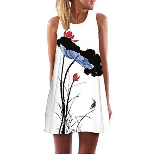 FEITONG Las mujeres de la vendimia de Boho del verano sin mangas de la playa corta impresa mini vestido (M)