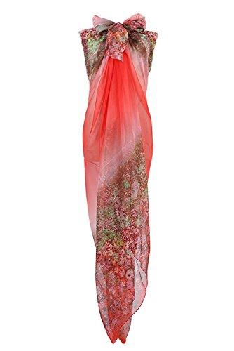 PB-SOAR XXL Mode Damen Sarong Pareo Strandtuch Wickelrock Wickeltuch Schal Halstuch mit Blumenmuster (Rot)