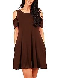 21d85c04f16 Rojeam Camiseta de mujer de verano con hombros descubiertos Vestido de  noche con bolsillos