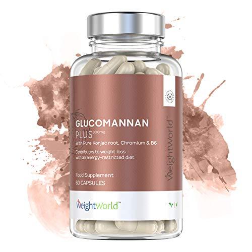 Glucomannan Plus   60 Kapseln zur Bekämpfung von Hunger & Heißhunger   3.000mg Glucomannanextrakt   100% Natürliche Unterstützung beim Abnehmen   Mit Vitamin B6 & Chrom   10tägige Kur auch für Veganer