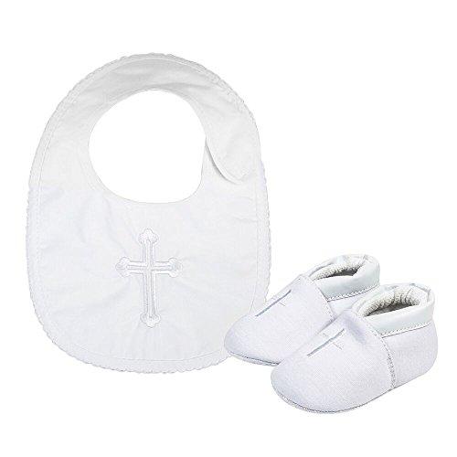 LACOFIA Baby Mädchen Rutschfest Weiche Sohle Weiß Taufe Schuhe mit Bestickten Cross Lätzchen 0-3 Monate