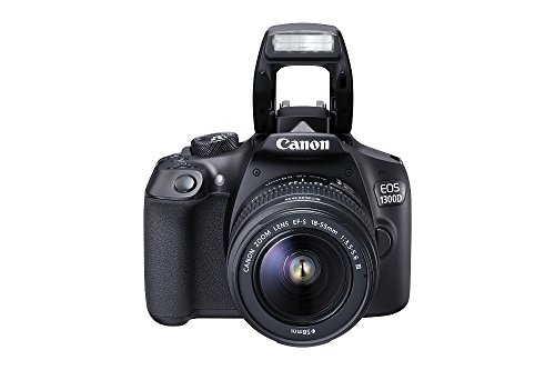 Canon EOS 1300D - Cámara réflex de 18 Mp (pantalla de 3', Full HD, 18-55 mm, f/3.5-5.6, NFC, WiFi), color negro - Kit con objetivo EF-S 18-55 mm DC III (versión europea)