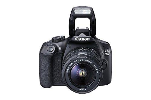 dslr wlan Canon EOS 1300D Digitale Spiegelreflexkamera (18 Megapixel, APS-C CMOS-Sensor, WLAN mit NFC, Full-HD) Kit inkl. EF-S 18-55mm III Objektiv schwarz