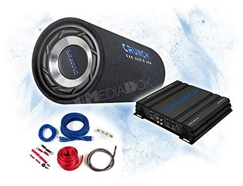 Crunch Basspaket 2-Kanal Endstufe/Verstärker+20cm Subwoofer+Kabel-Set - 400 Watt/GTS-200 + GPX-500.2 + REN10KIT -