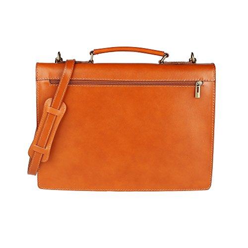 Unisex Aktenkoffer, Business Handtasche mit Schulterriemen, Laptophalter, aus echtem Leder Made in Italy Chicca Borse 38x27x7 Cm Bräunen