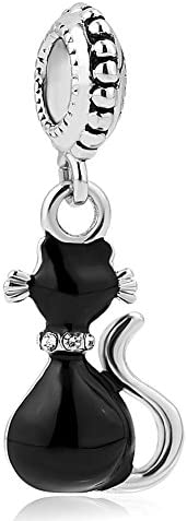Mel Crouch Cute Black Cat Charms Animal Pet Charm Beads for Snake Chain Bracelets
