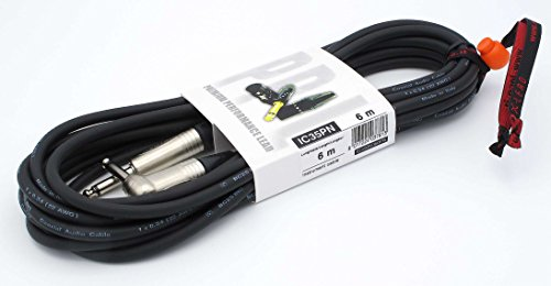 X-LEAD IC35PN060BK serie PLATINUM, cavo per strumenti professionale di alta qualità per Chitarra/Basso / Tastiere - Jack to Jack 90° - connettori NEUTRIK - (6 m, nero) - MADE IN ITALY by INCO