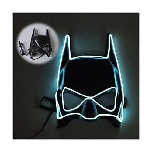 YOIO LED-Maske EL Kaltlichtglühlinie Fledermaus Halbe Gesichtsmaske, weiß
