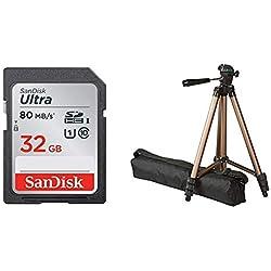 AmazonBasics Trépied ultraléger 127cm & Carte Mémoire SDHC 32Go SanDisk Ultra jusqu'à 80Mo/s, Classe 10 FFP