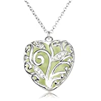 Magical Fairy Glow in the Dark Locket Hollow Luminous Oval Pendant Necklace
