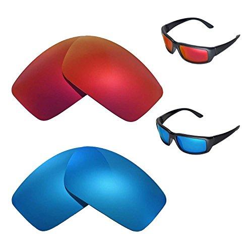 Walleva Polarisierte Fire Red + Ice Blue Ersatzgläser für Costa Del Mar Fantail Sonnenbrille