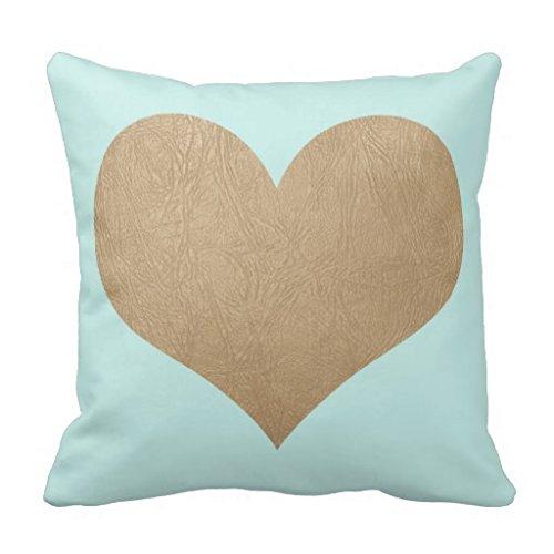 Faux Leder Herz (Mint und Faux Gold Leder Herz Überwurf Kissen Fall)
