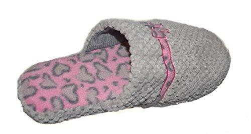 BTS–D20Cosy donna Mule pantofole, grigio Gr. 3–8 Grey - GREY