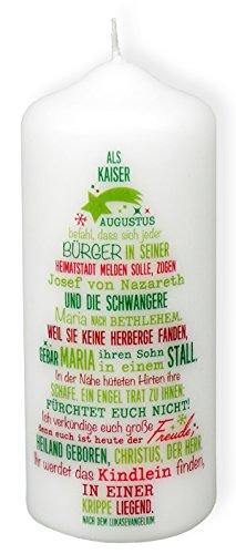 """°° Weihnachtskerze \""""Weihnachtsgeschichte\"""" Höhe 12 cm Ø 5 cm"""