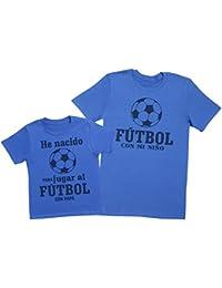 Zarlivia Clothing Fútbol con Papá - Regalo para Padres e Hijos - Camiseta de Niño y