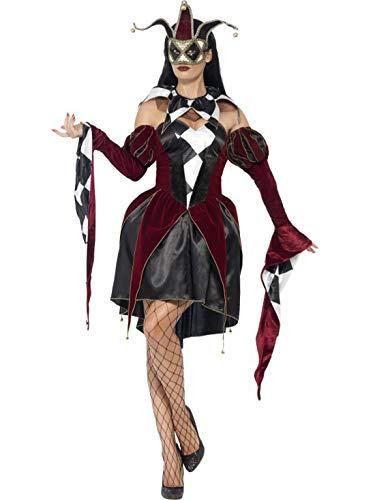 Karnevalsbud - Damen Frauen Kostüm venezianischer Harlekin Hofnarr mit Kleid Kragen und Ärmel, Gothic Harlequin Jester, perfekt für Halloween Karneval und Fasching, L, Schwarz