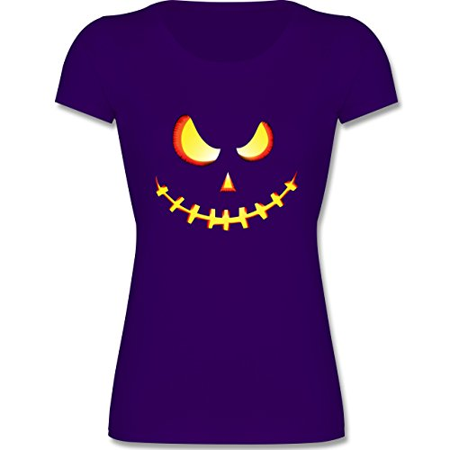 Muttertag & Vatertag - Gruseliges Kürbis-Gesicht - 128 (7-8 Jahre) - Lila - F288K - Mädchen T-Shirt (Beliebte Teenager Halloween Kostüme)