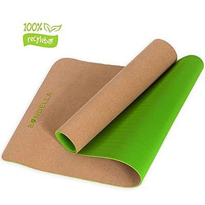 Bondella Ahimsa - Rutschfeste & Schadstofffreie Yogamatte aus Kork & TPE (183x61x0,5cm) - Organisch & 100% abbaubar - Ideal als Bio Yoga Matte, Gymnastikmatte, Fitnessmatte, Sportmatte, Trainingsmatte