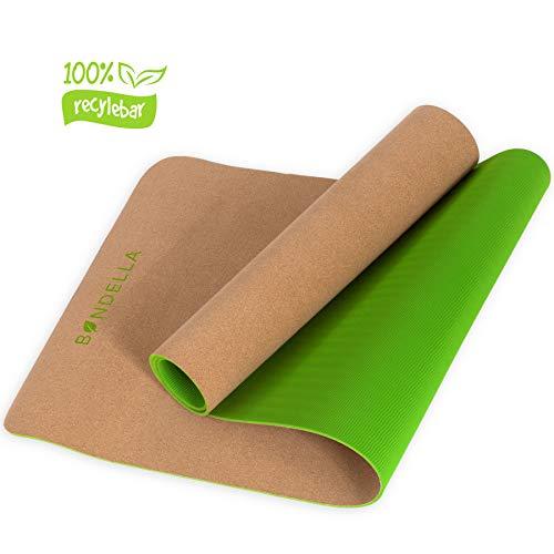 Bondella Ahimsa - Rutschfeste & Schadstofffreie Yogamatte aus Kork & TPE (183x61x0,5cm) - Organisch & 100{c29c9213ee261f69e529b04306dc493607741538b138a7598da401af7f79ca2a} abbaubar - Ideal als Bio Yoga Matte, Gymnastikmatte, Fitnessmatte, Sportmatte, Trainingsmatte