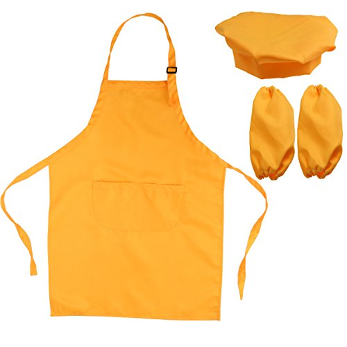 h-Set Kinderschürze Hut und Cooking Ärmel Kinder Chef Set zum Kochen Backen Malerei oder Dekoration (Orange) ()