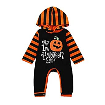 Bright_99 Baby Overalls Schlafanzug Strampler Halloween Romper Jumpsuit Kürbis Kapuzen Playsuit (Schwarz, 0-6Monate)