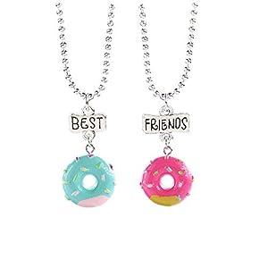 MJARTORIA Damen Mädchen Halskette Silber Farbe Essen Regenbogen Eule Schmuck Anhänger mit Gravur Freundschaftsketten 2 Stück