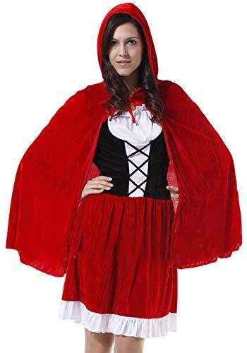 Riding Red Kostüm Hood Böse - Monissy Damen Rotkäppchen Kostüm mit Umhang Erwachsene Cosplay Kleid Karneval Cosplay Kostüm Gothic Red Riding Hood Dress up Halloween Fasching Verkleidung Party Kleid Rot S M