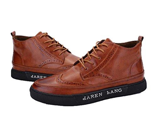WZGDie neue High-top beiläufige Schuhe der Männer britische Columbus Locke geschnitzt Gezeiten Schuhe Mode Schuhe Herrenstiefel Brown
