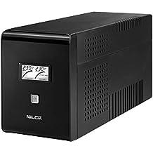 Nilox Line Interactive SineWave Gruppo di Continuità UPS, 2800VA/1400W, Display LCD, 6 Uscite, USB, Nero