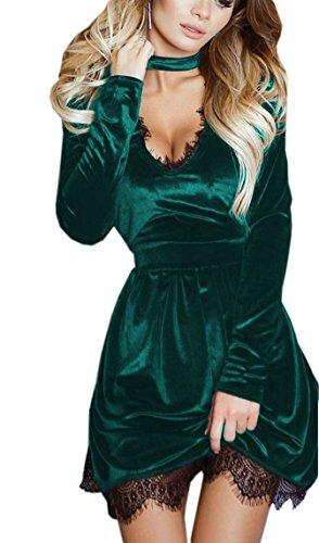 Weiblich Samt Cocktailkleid Reizvolle Schlank Partykleider Tief v ausschnitt Spitzenkleider Hängender Hals Volltonfarbe Minikleid Bandage Abendkleider Tunikakleid Brautjungfernkleid (38, (Grüne Kleid Fee)