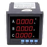 Dreiphasen-Wechselstrommessgerät Voltmeter, 1A / 5A / 10A Digitales LED-programmierbares Wechselstrommessgerät(Schwarz)