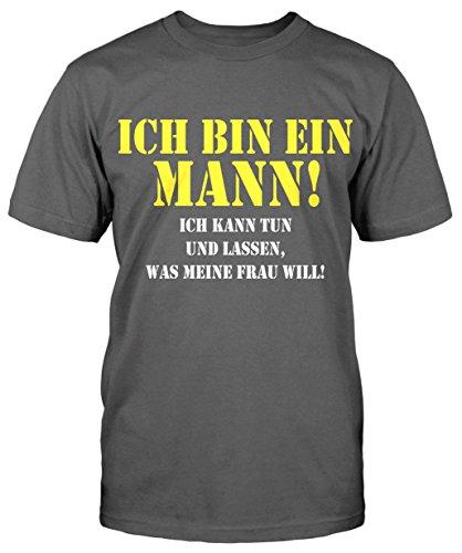 Ich bin ein Mann T-Shirt Herrentag Fun Shirt Sprüche Sommer Party Kult Neu Trend Grau