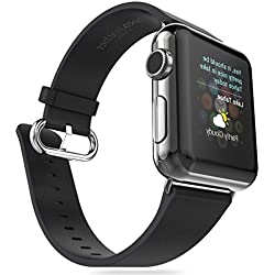 For Apple Watch Band, Fulltime(TM) HOCO Genuine Leather Strap Classic Buckle Adapter for Apple Watch 42mm