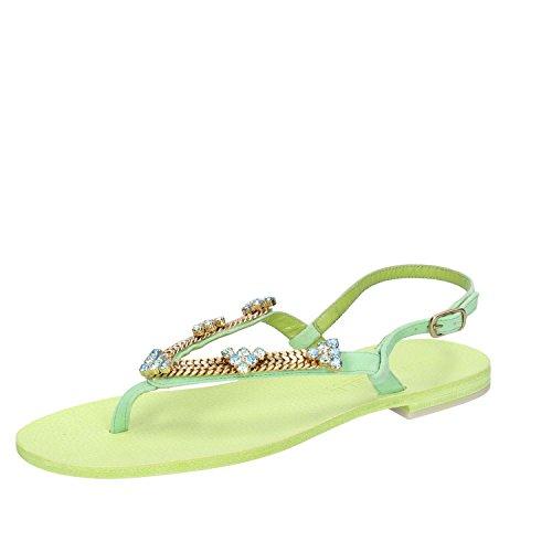 Eddy daniele sandali donna 37 eu gioiello verde camoscio cristalli swarovski